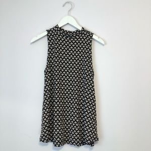 Mock neck printed sleeveless top